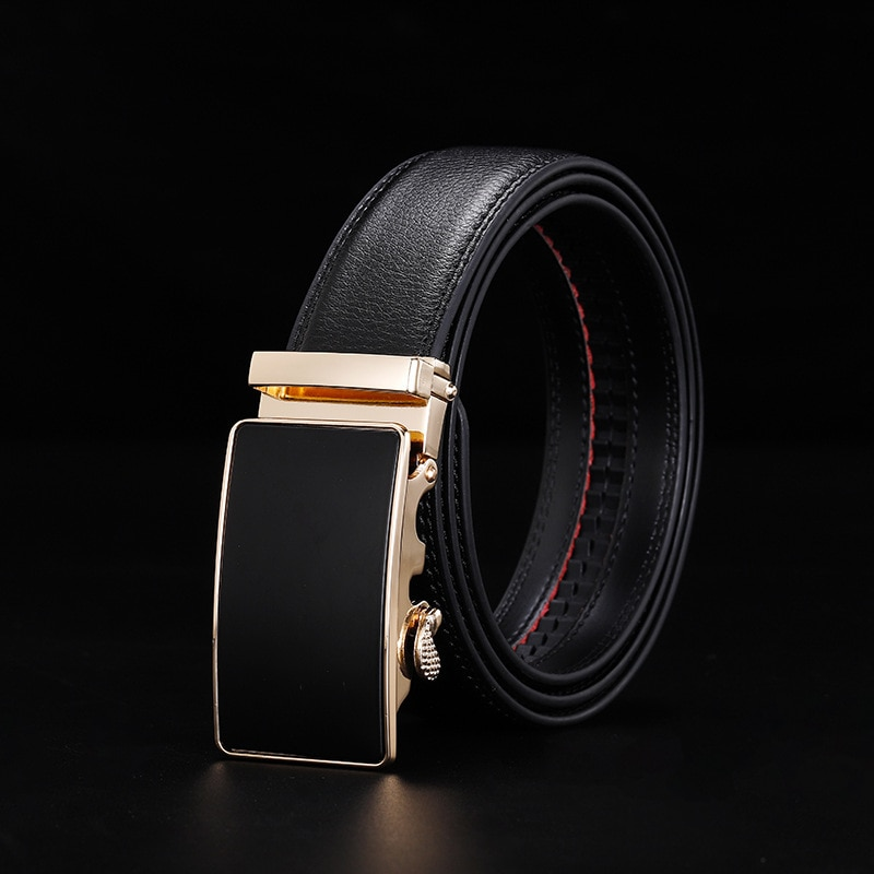 Peikong brand Luxury Automatic Buckle Men Black Genuine Leather male fashion belt designer mens Belts man high quality For Belts
