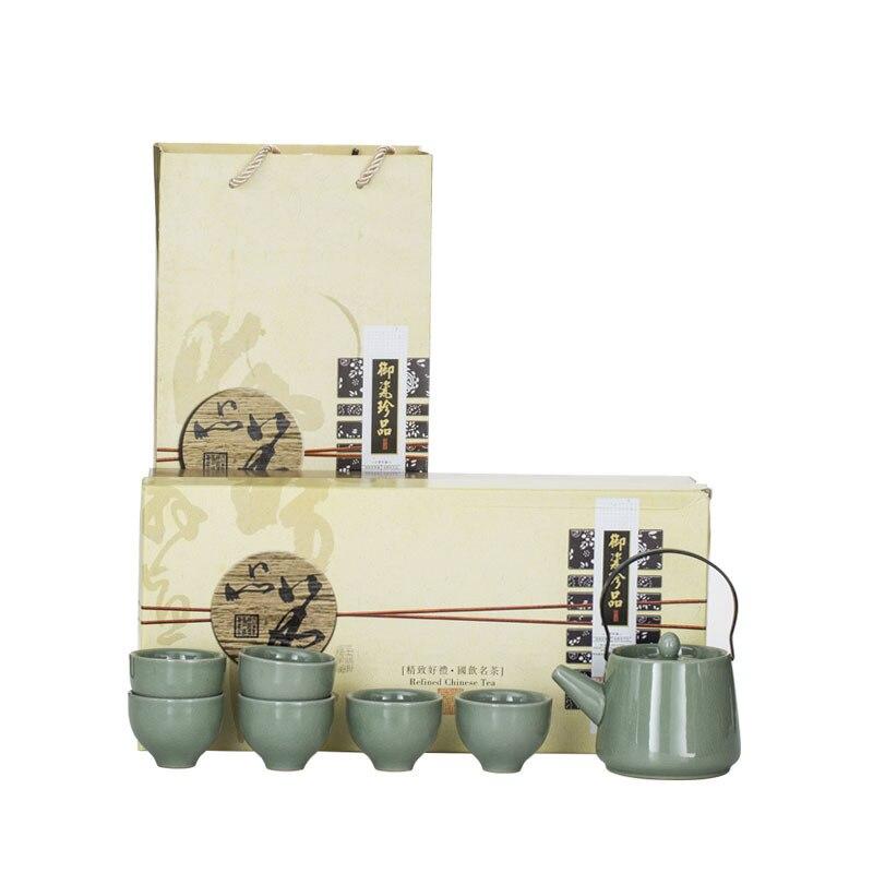Tetera característica Dehua de tetera y Geyao con grieta clásica Kungfu conjunto de regalo para negocios personalización