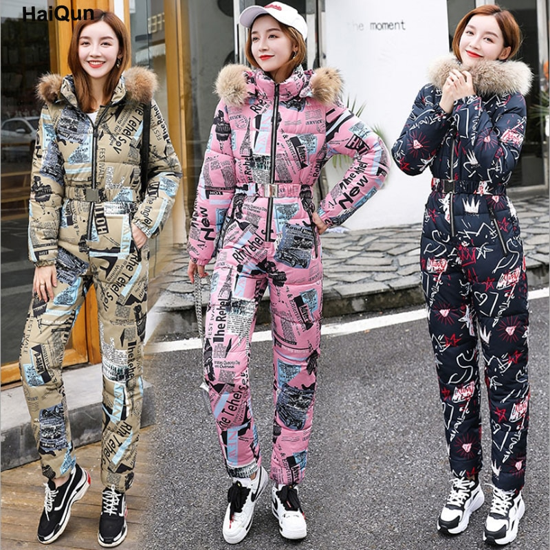 Womens Warm Outdoor Down Cotton Padded Jumpsuits Clothes Leisure Suits New European American Winter Hooded Coat Jacket Trousers