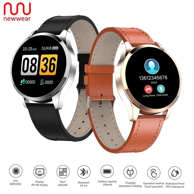 "Newwear Q9 1.2"" IPS Big Screen Smart Watch Waterproof HR Sensor Blood Pressure Monitor Fashion Fitness Smartwatch Men Women"