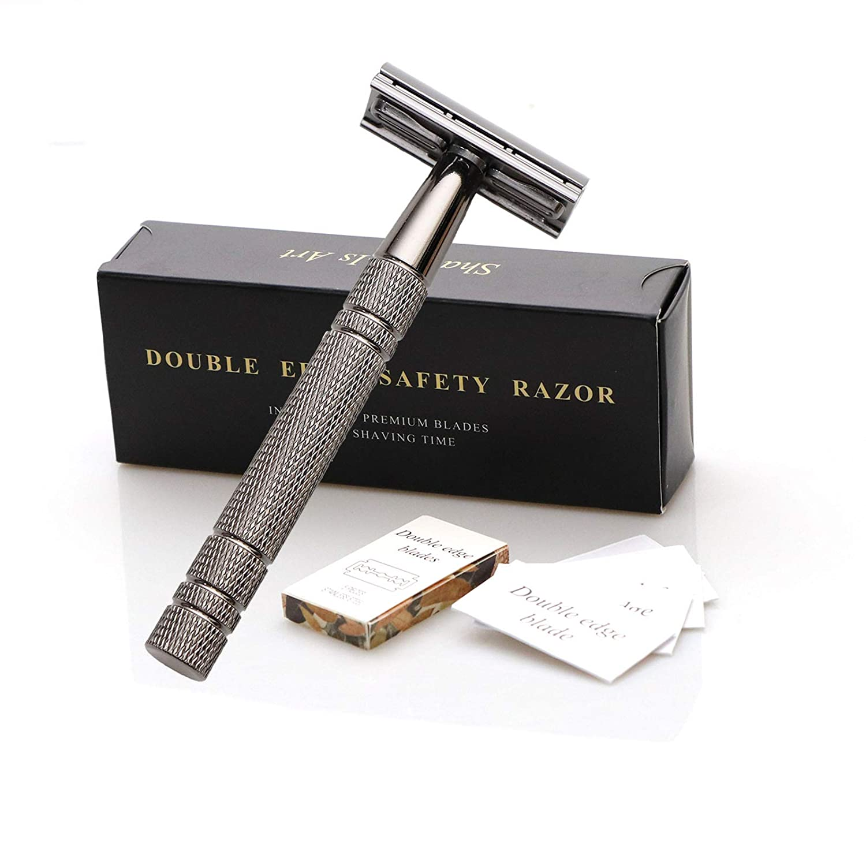 Edieu Double Edge Razor With 10 Shaving Blades Premium Wet Shaving Classic Metal Manual Shavers Fits All Standard Razor Blades