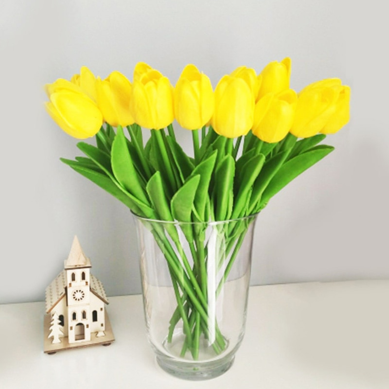 10pcs Artificial Tulips Flowers Home Garden Decoration Real Touch Flower Bouquet Birthday Party Wedd
