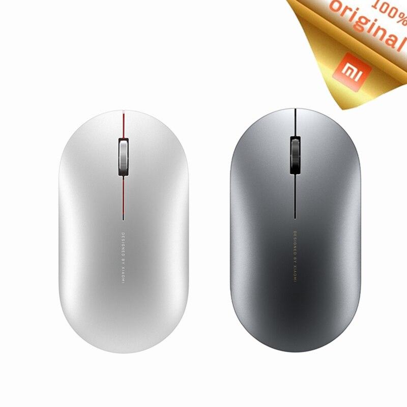 Mouse óptico xiaomi mi, mouse sem fio, bluetooth 1000dpi 2.4ghz wifi link, mini metal mouse portátil