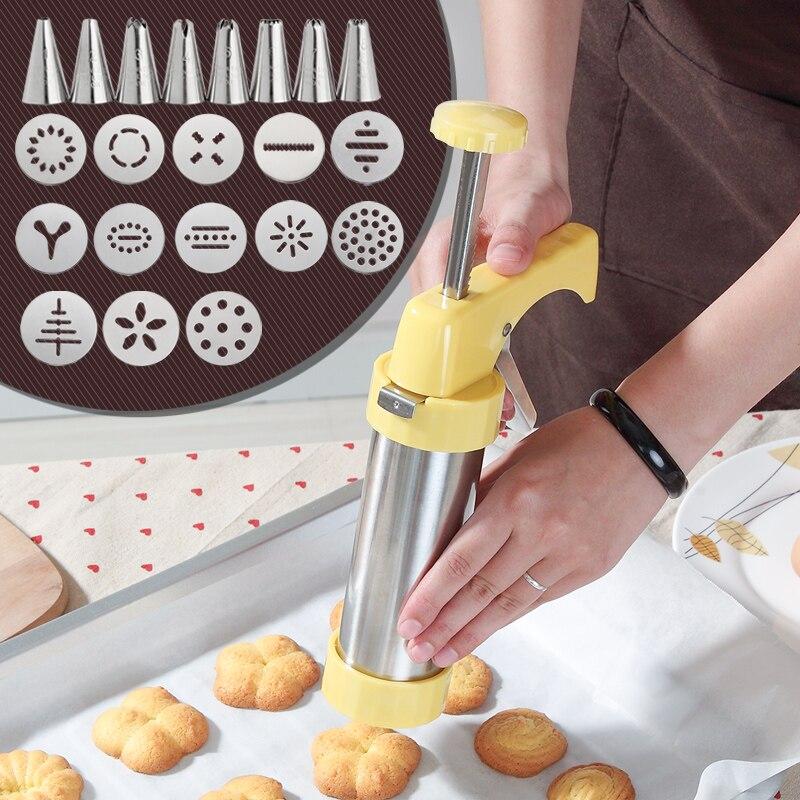 Kit de prensa de galletas, fabricante de galletas, set de armas con 13 moldes de prensa de galletas y 8 boquillas para manga pastelera, juegos de decoradores de pasteles KC0225