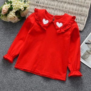 2020 Spring Toddler Girl Shirts Fashion Lapels Love Long Sleeve Tops For Girls Kids Clothing 1 2 3 4 5 6 Years Child Tees Shirts