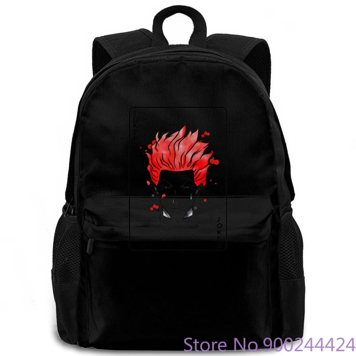 Hunter X Hunter el payaso Hisoka Joker Tarjeta blanca para ga Anime Fan Venta caliente mujeres hombres mochila laptop viaje escuela