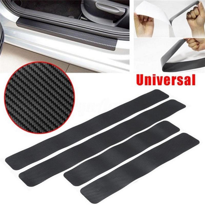 Pegatinas de 4 piezas para coche, protector Universal antiarañazos 3D de fibra de carbono, adhesivo para puerta de coche, calcomanías, accesorios para coche, estilo de coche