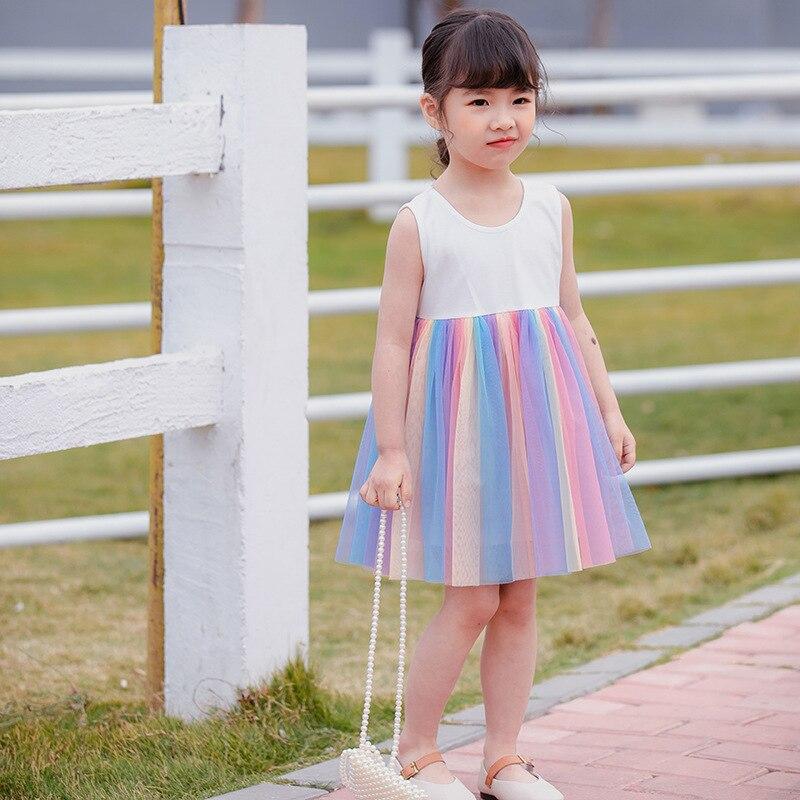Детская одежда, новое летнее детское платье, платье для девочек, платье принцессы, Радужное платье, Сетчатое платье, детское газовое платье, ... платье aelite aelite mp002xw1ieyt
