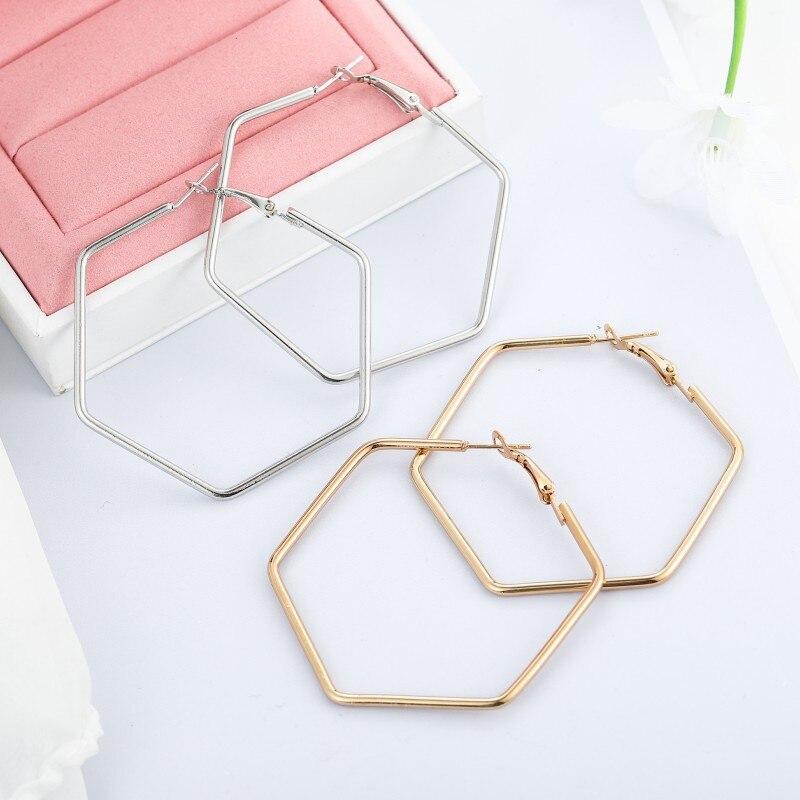 1 par de pendientes de aro grandes a la moda 2020 para mujer y niña, pendientes geométricos grandes y lisos, pendientes de gota con lazo, joyería