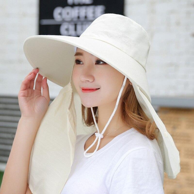 Visera de verano sombrero con visera ancha sombrero de playa Omnibearing UV gorras de protección de rostro cuello sombreros de sol para mujer