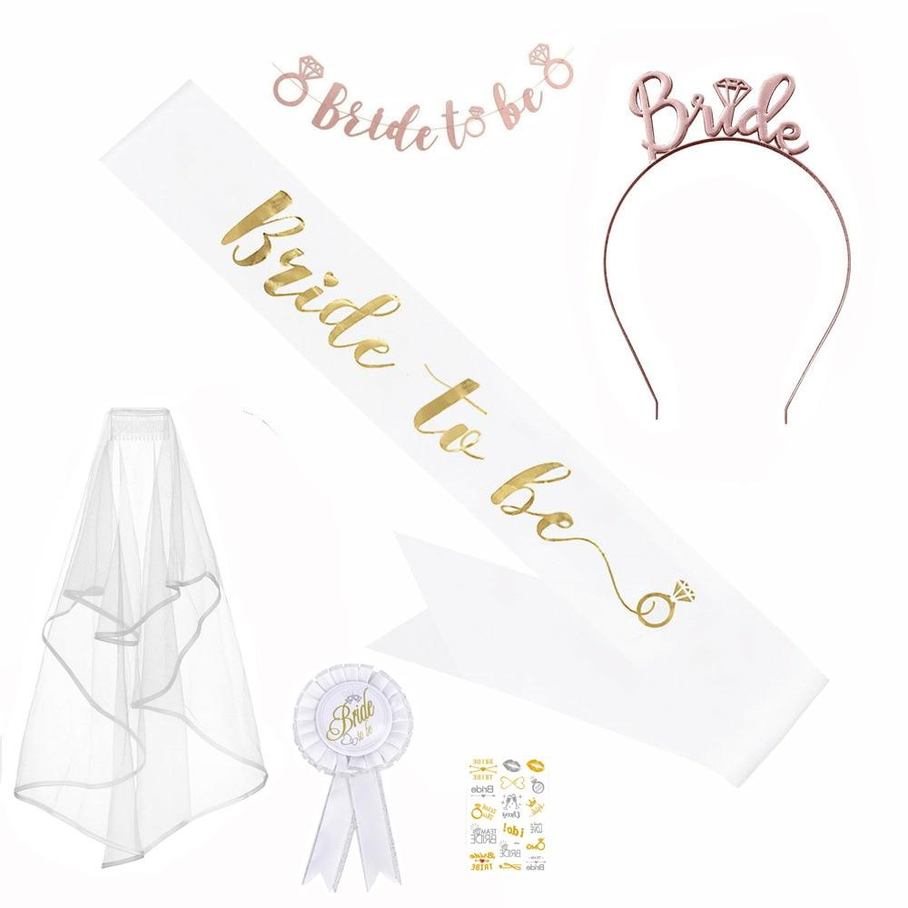 11 pçs despedida de solteira festa de casamento véu decoração suprimentos casamento decoração da dama de honra equipe noiva para ser cetim sash bacharett
