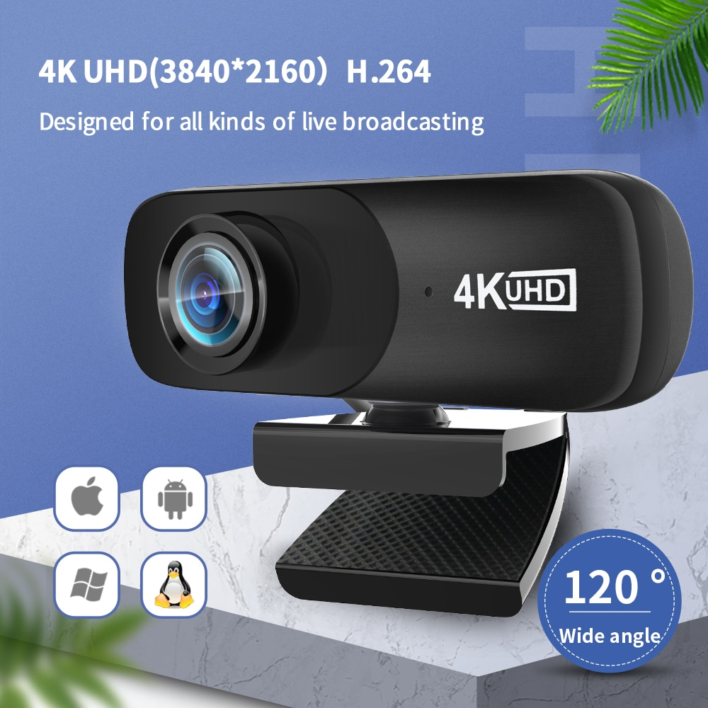 TISHRIC C160 4K 3840*2160 Webcam Web Cam Web Camera With Microphone For Computer Live Broadcast Video Calling Conference