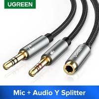 Сплиттер для наушников UGREEN для компьютера 3,5 мм мама до 2 двойных 3,5 мм штекер микрофон AUX аудио Y сплиттер кабель гарнитура к ПК адаптер