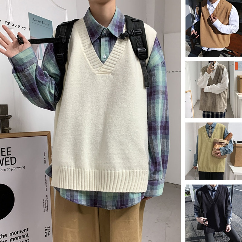 Жилет Мужской трикотажный с V-образным вырезом, Модный повседневный Свободный пуловер в Корейском стиле, уличная одежда, весна
