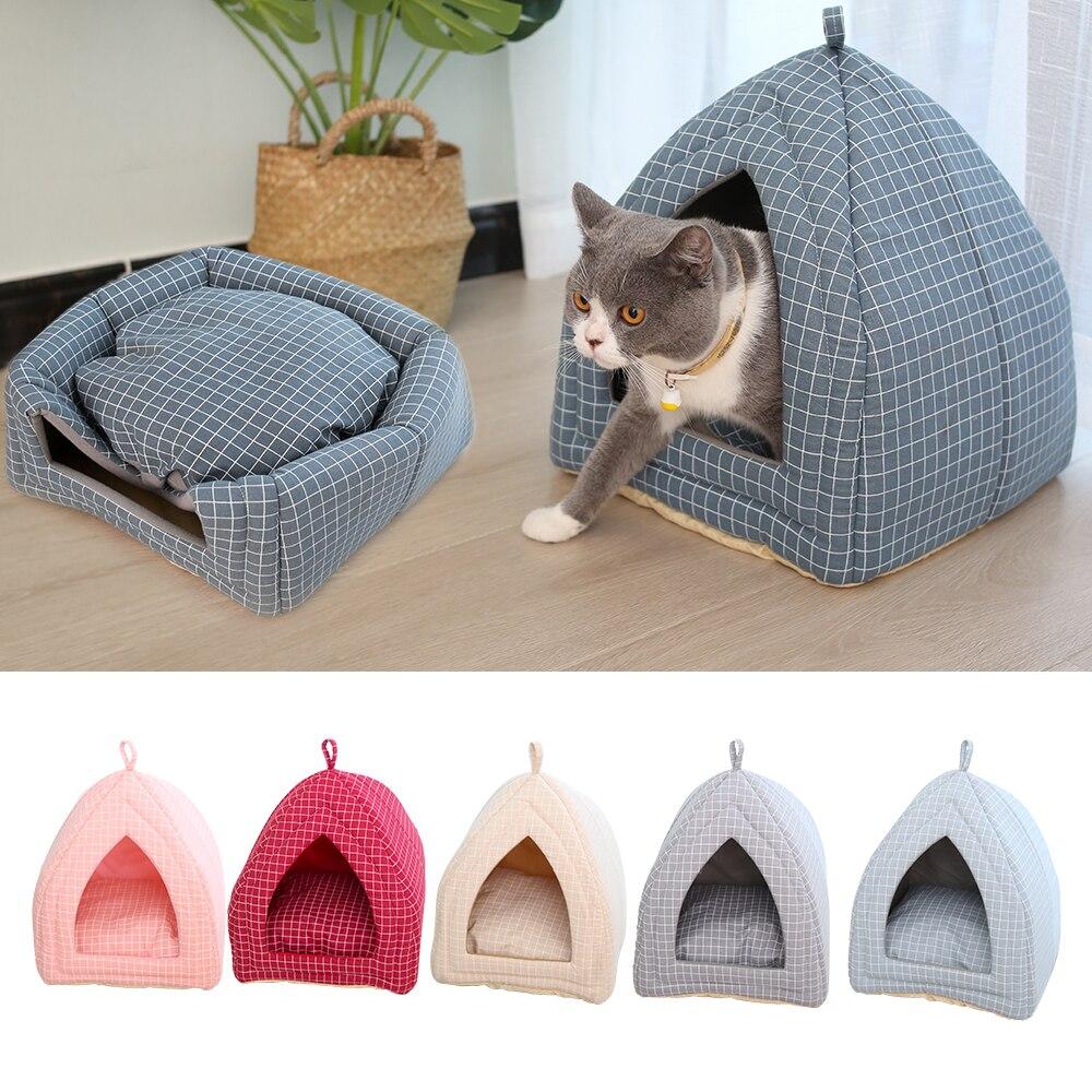 Foldable Fabric Pet Dog Cat Bed Soft  Shape Cat Pet Cat House Warm Sleeping Nest For Cat Washable Cute Pet Supplies