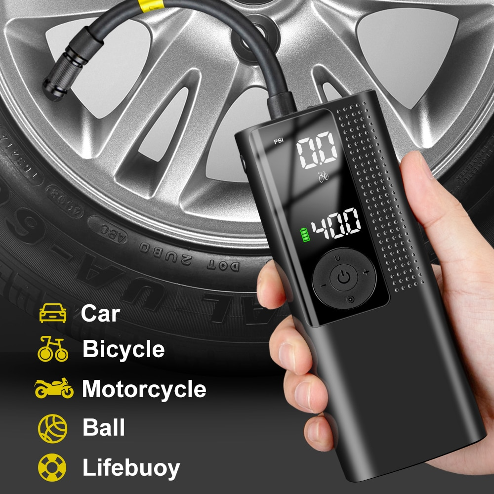 Electric Car Air Compressor Pump 120PSI Wireless Rechargeable Inflatable Car Air Pump Tyre Inflator Portable Digital LCD Display