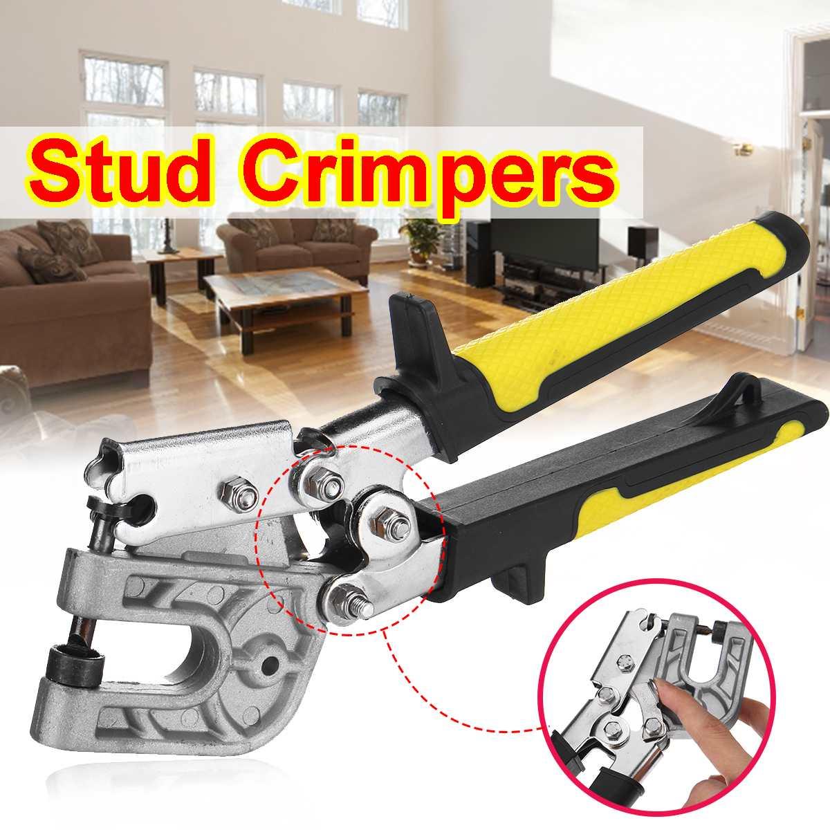 "doersupp 10"" High-carbon Steel Stud Crimper Punch Lock Single Hand Keel Fastening Forceps Professional Flat Mouth Metal Plier"