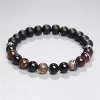 mens natural agates tiger eye garnet wood stone beads bracelet for men homme black stone beads tibetan chakra energy bracelets