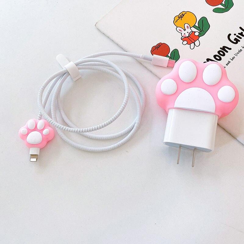 Rosa gato patas Protector cargador de Cable Kawaii dibujos animados Organizador lindo...