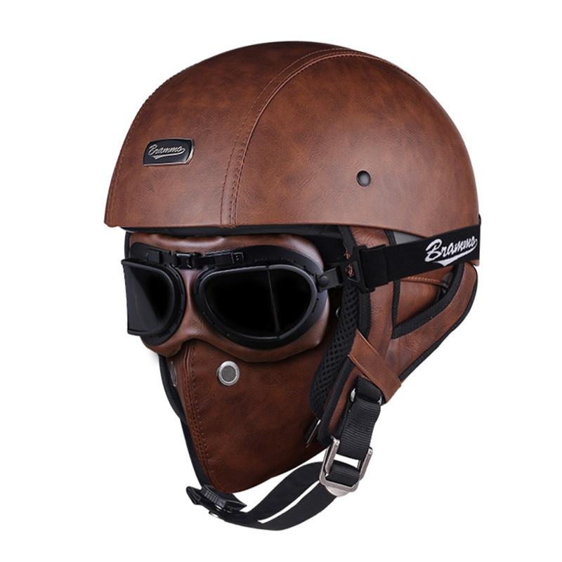 خوذة دراجة نارية من جلد البولي يوريثان الرجعية ، نصف خوذة ، دراجة نارية ، سكوتر كهربائي ، مع نظارات وقناع