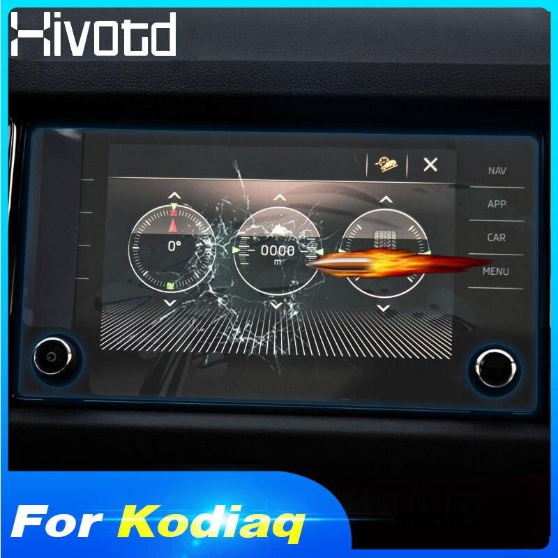 Hivotd para skoda kodiaq 2017 2018 2019 coche para pantalla de navegación GPS pegatina protectora de vidrio templado accesorios interiores de película