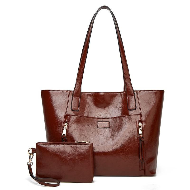 1 مجموعة 2 قطعة حقائب النساء الإناث مصمم العلامة التجارية حقائب كتف للسفر عطلة نهاية الأسبوع Feminine Bolsas بولي Leather جلد كبير حقيبة ساعي