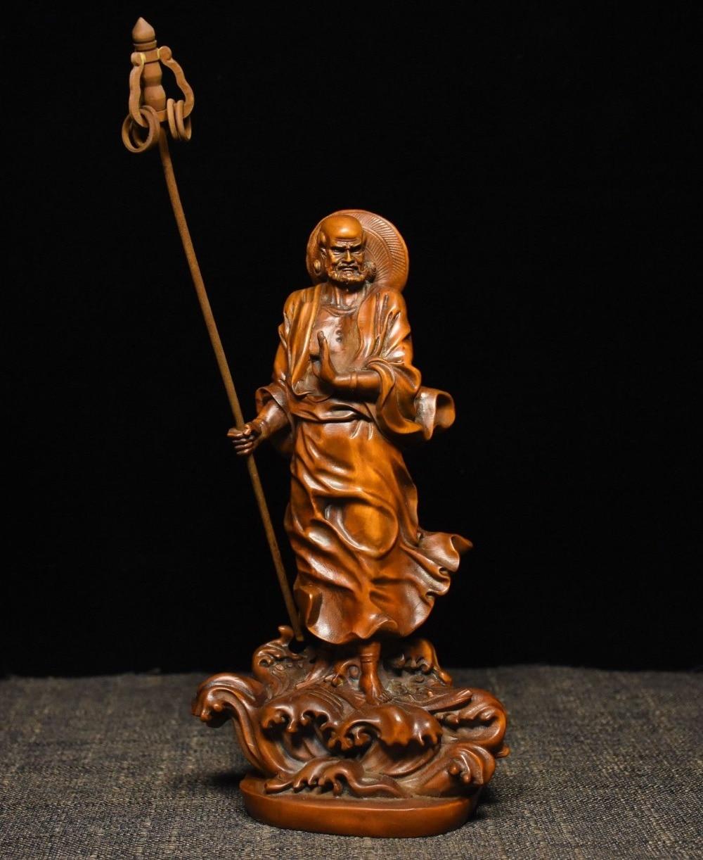 Soporte de madera de boj para budismo chino de Navidad, estatua de Buda Damo Bodhidharma Dharma, halloween