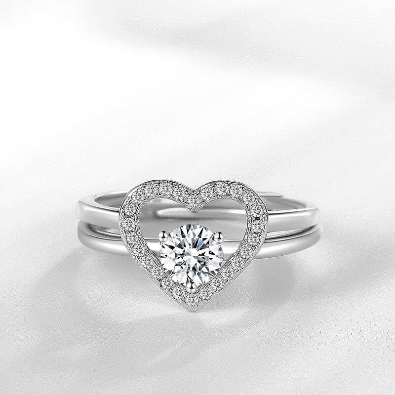 SODORV 925 Sterling Silver Ring Sets Heart Love Womens Rings Wedding Rings Jewelry for Women Resizable