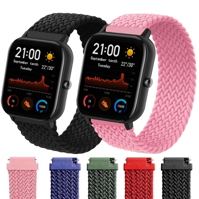 Braided solo loop nylon 20mm 22mm smart band for Xiaomi Amazfit gts2 Bip Gtr watch strap correa relo