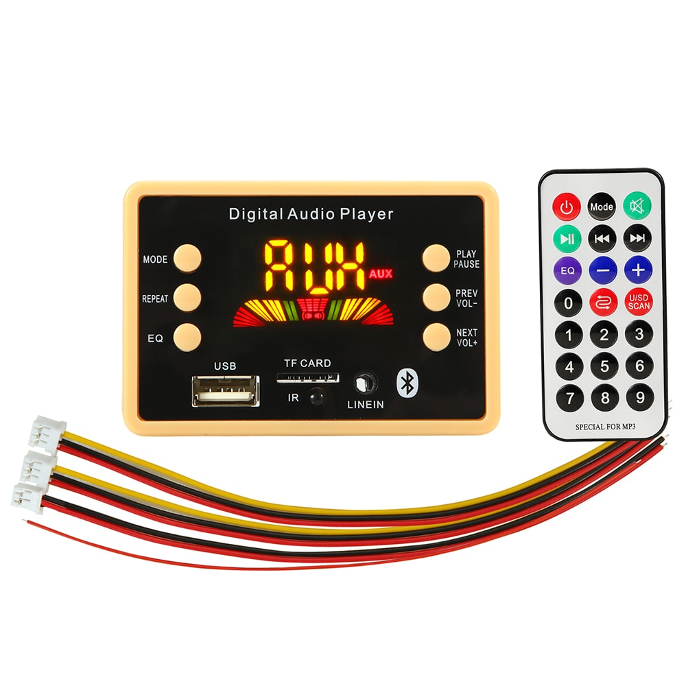 Bluetooth 5.0 MP3 Decoder Decoding Board Module 5 v 12v Car USB MP3 Player WMA WAV TF Card Slot / USB / FM Remote Board Module vicfine car audio usb tf fm radio module wireless bluetooth 6v 12v mp3 wma decoder board mp3 player with remote control