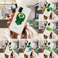 brazilian flag phone case transparent for samsung a51 a50 a71 a70 a81 m60s note s21 s 20 10 9 8 11 e plus ultra