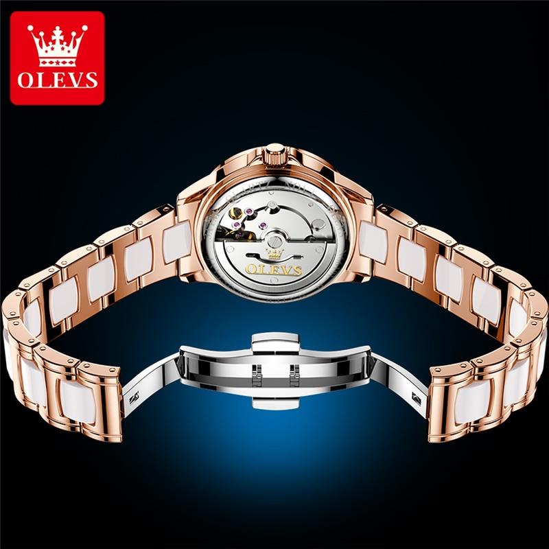 OLEVS Luxury Brand New Fashion Women Mechanical Watch Ceramics Watch Automatic Watches For Women Gift For Women Relogio Feminino enlarge