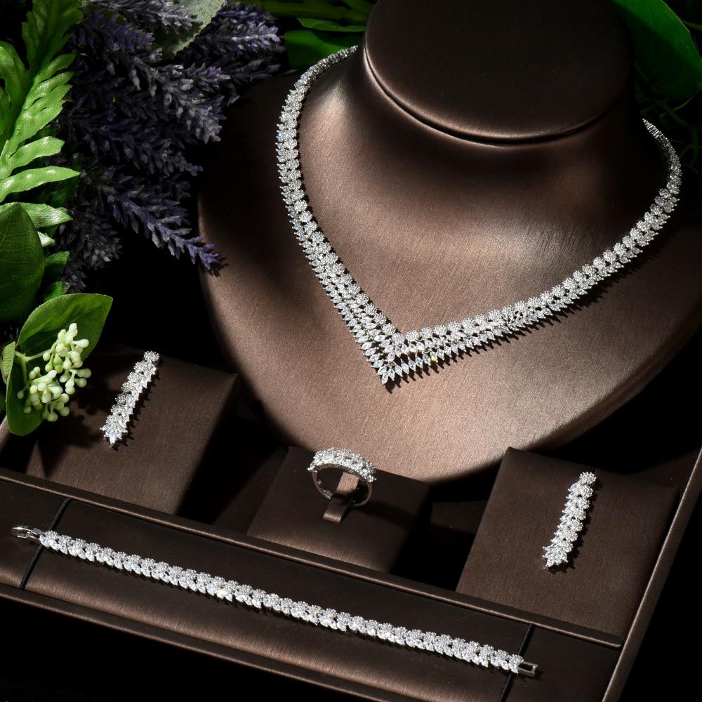 HIBRIDE العصرية موضة طاقم حلي نسائية الكلاسيكية ورقة تصميم بريليانت تألق AAA مكعب الزركون فستان الزفاف والمجوهرات مجموعة N-04