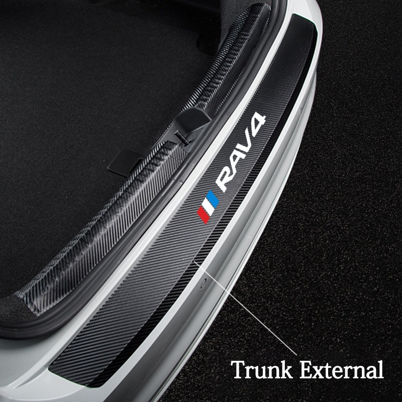 Carbon Fiber Car Rear Bumper Trunk Guard Plate Film Protected Leather Stickers For Toyota RAV4 Hybrid Sport 2013 2006 2018 2011