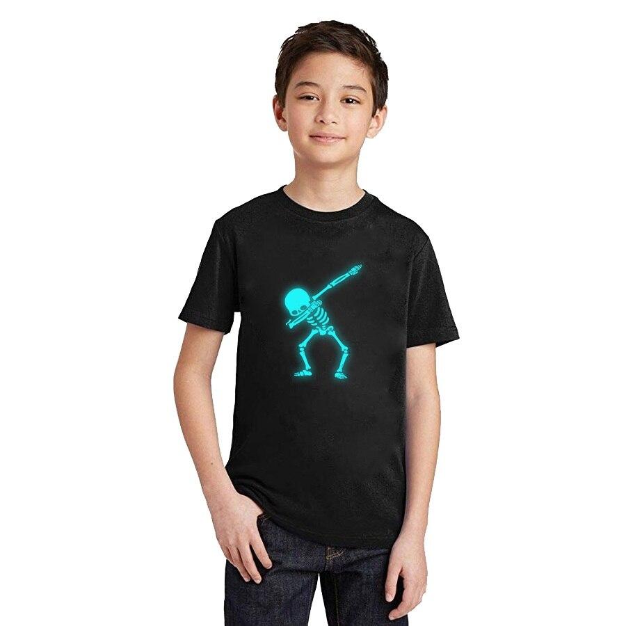 LYTLM Hip Hop camiseta niños fluorescente Dabbing esqueleto luminoso camiseta pequeños algodón 2019 niños camisetas divertidas Punk Rock cráneo