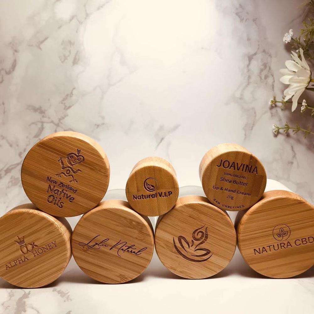 Engraving logo 10g 15g 30g 50g bamboo cream cosmetic jar ,1oz bamboo glass jar for eye cream, 3oz CBD Hemp Cream wood containers