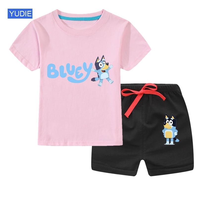 Комплект летней одежды для мальчиков и девочек, футболка с коротким рукавом и принтом и хлопковые спортивные шорты, Детский костюм для отды...