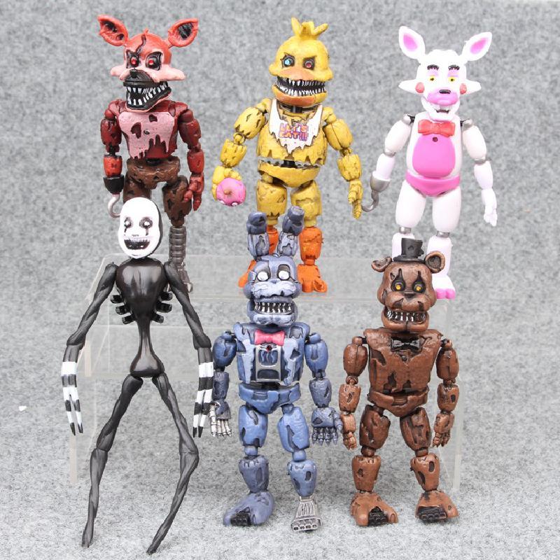 14,5-17 cm 6 piezas/lote Pvc Material acción personajes vida decoración juguete cinco noche actividad figura modelo niños muñeca juguete