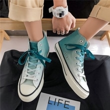 2021 new Men's Vulcanize Shoes high-top canvas shoes men's trendy shoes spring summer color casual s