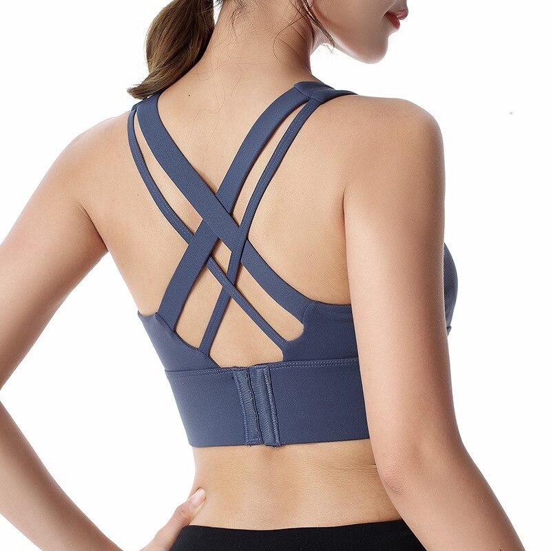 Women Cross Sports Bras Rear Buckle Adjustable No Steel Ring Shockproof Yoga Running Ladies Workout Tops Underwear Bralette I06