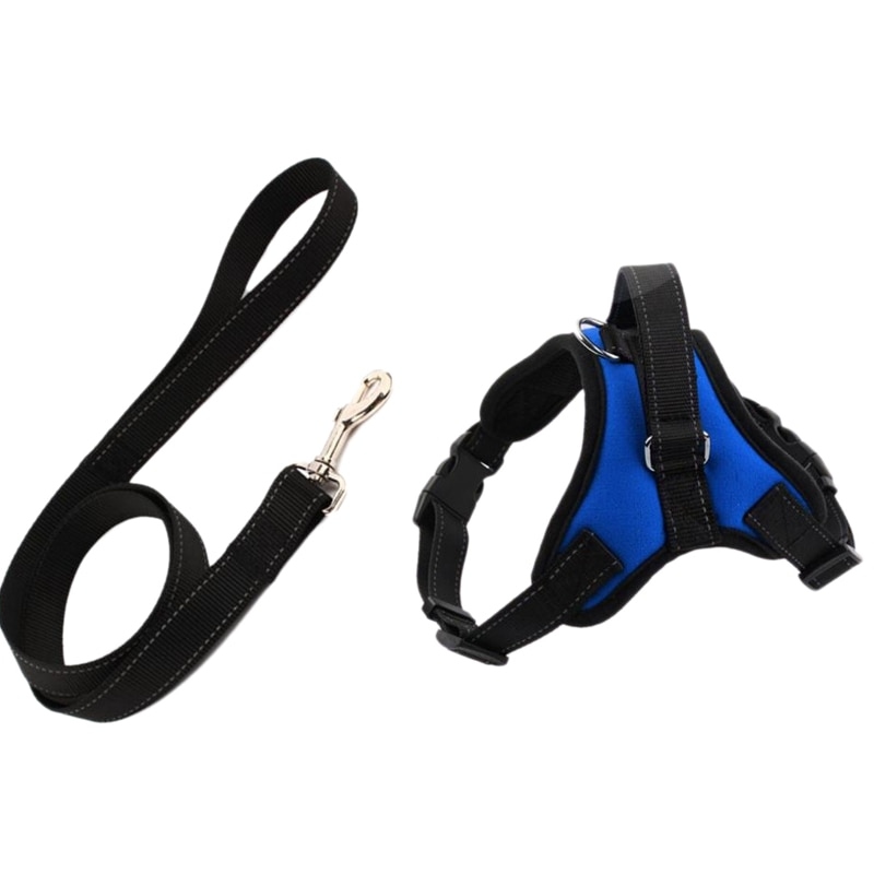 Dog Harness Leash Set Adjustable Breathable Dog Cat Collar Vest Harness for Dog Puppy Pet Chest Strap Dog Accessories Blue