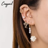 cosysail 5pcsset charm pearl stud earrings set for female girl rhinestone snake shape stud earrings party statement jewelry