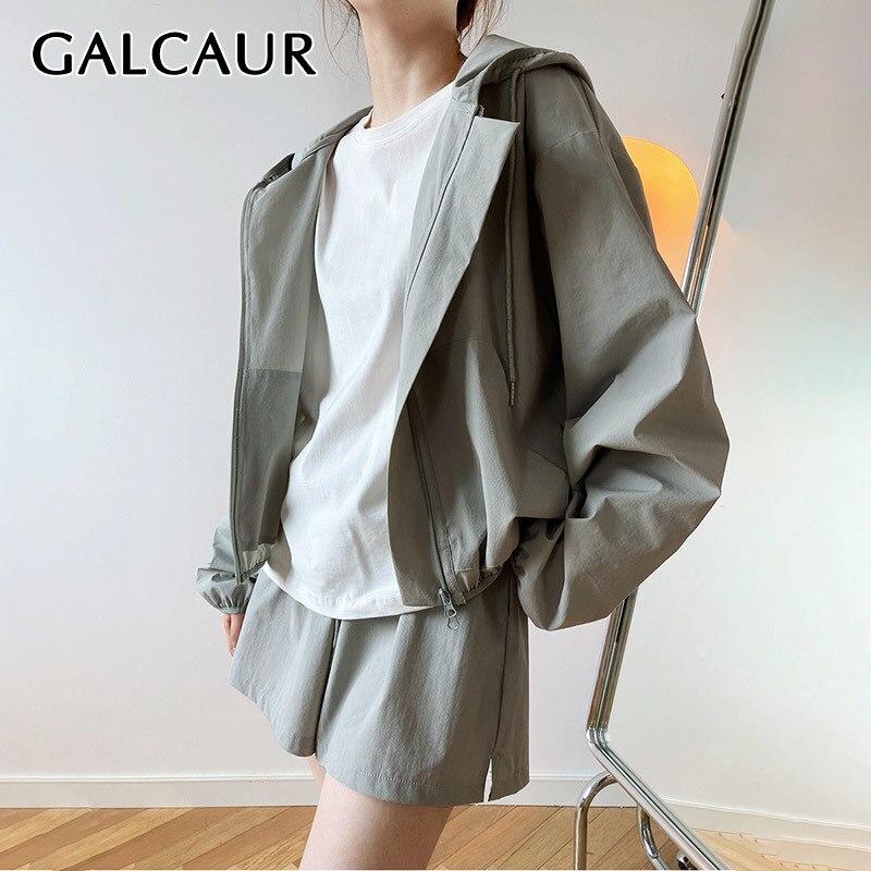 GALCAUR الأبيض قطعتين مجموعة للنساء مقنعين سحاب أكمام طويلة معاطف عالية الخصر فضفاض السراويل السراويل الصلبة مجموعات الإناث 2021 نمط