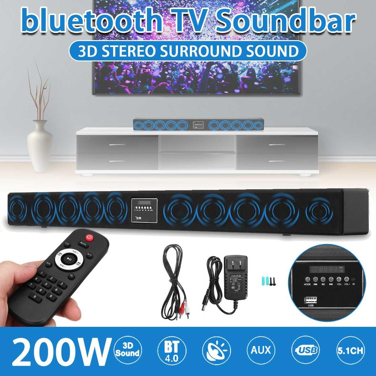 200 واط بلوتوث TV Soundbar مع 10 مكبرات الصوت نظام مسرح منزلي ثلاثية الأبعاد شريط الصوت المحيطي التحكم عن بعد مع مضخم للصوت للتلفزيون
