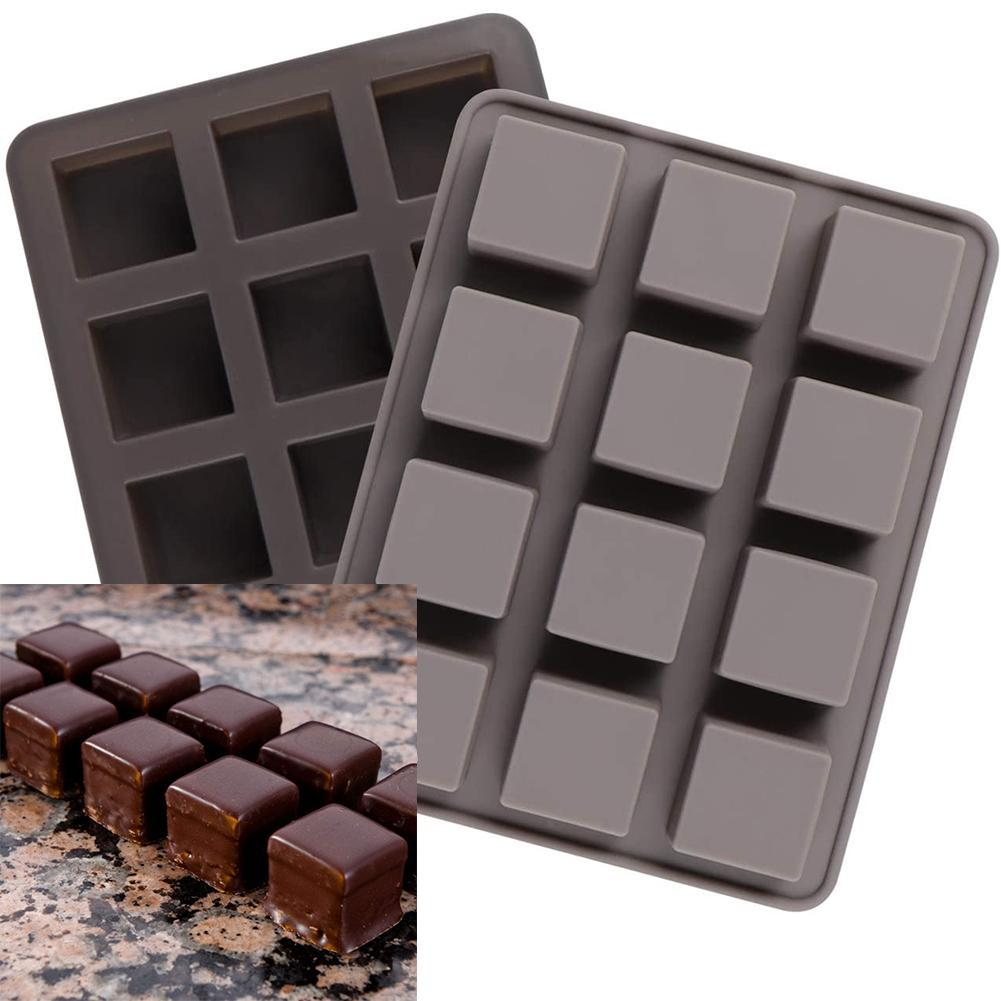 Molde cuadrado de silicona antiadherente para hornear pasteles, postres, Chocolate, molde de...