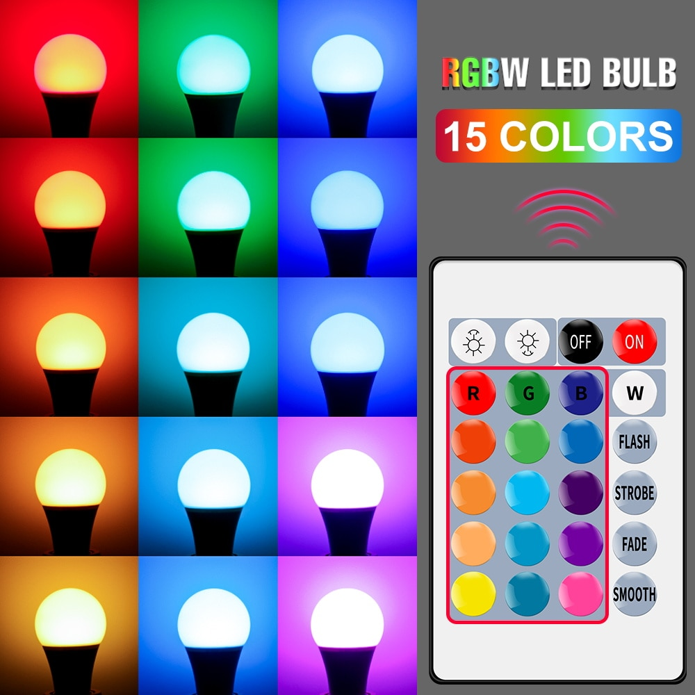 Bombilla Led RGB Blub de 5W, 10W, 15W, foco de 220V, E27, lámpara Led de 16 colores con cambio de color, lámpara de Control inteligente de 110V, foco de bombilla Led RGBW