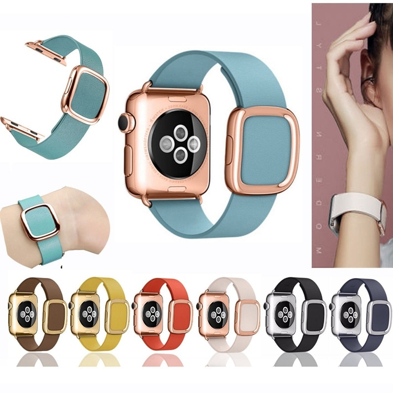 Pasek z prawdziwej skóry pasek na Apple Watch4 pasek 44mm 40mm iwatch 5/4/3/2 pasek 42mm 38mm prawdziwej skóry nowoczesny pasek klamry