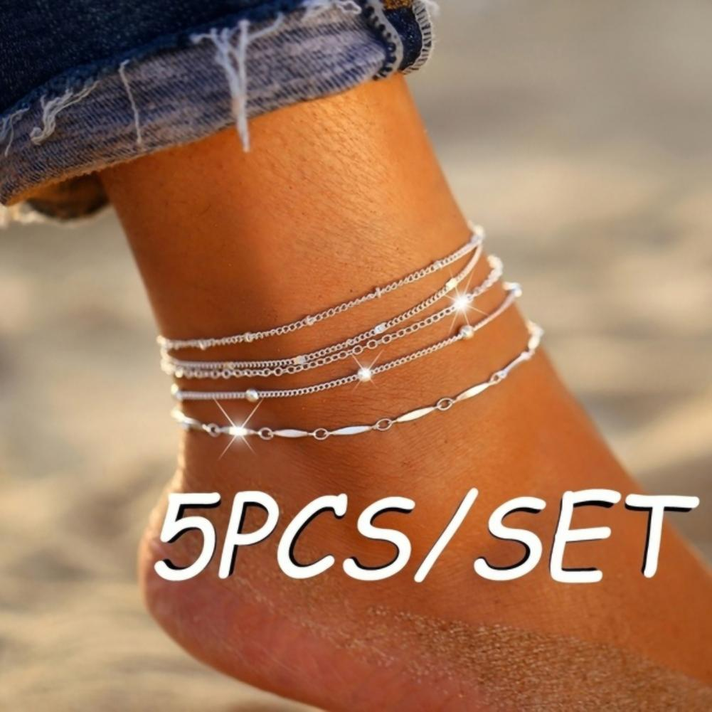 80% Hot Sale 5Pcs/Set Silver Color Style Fashion Anklet Bracelet on The Leg 2021 New Summer Beach Foot Jewelry