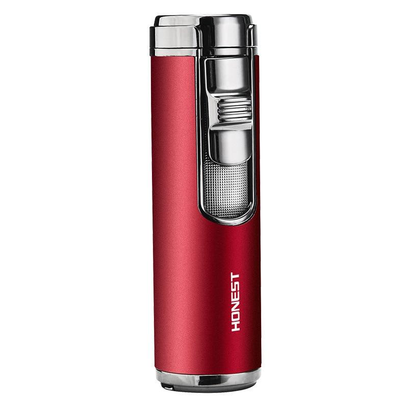 Купить с кэшбэком Windproof Torch Jet Lighter Spray Gun Turbo Gas 1300 C Metal Four Nozzles Butane Cigar Cigarettes Lighters Smoking Accessories