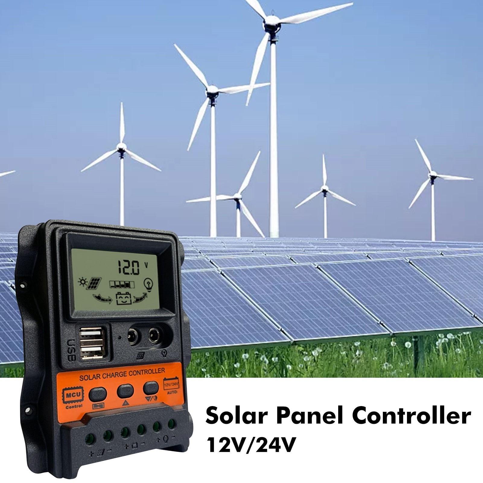 Solar Charge Controller 12V/24V LCD Backlight Display Solar Battery Regulator Dual USB Output Controllers